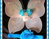 Pièce de bébé ailes et la tête, bandeau pour nouveau-né, bandeau Halo, ailes d'ange, ailes Pixie, photo de bébé Prop, bandeau de baptême, vous choisissez les couleurs