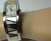 Cuff Bracelet Watch with Inlaid Abalone, Mother of Pearl  and Paua Shell  Bracelet  1990's Vintage and is Working On SaLe Now