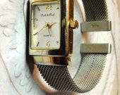 Watch 1990s  Mesh Cuff  Watch Bracelet  Working new Battery Kind of Retro Classic look  On SaLe Now
