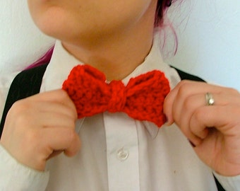 Crochet Bow Tie, Red, Bow Ties Are Cool