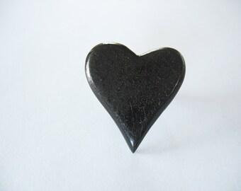 Wooden Heart Button Ring Vintage Button Dark Brown Stain Crackle Finish Adjustable