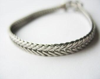 Herringbone Chain Bracelet, Goldette, Interweaved Design, Silvertone, 1970s, Safety Chain, Quality