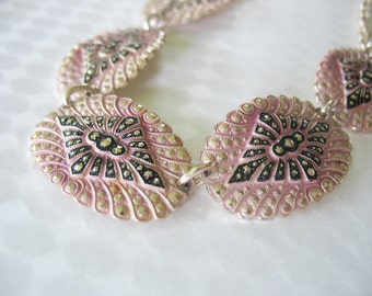 Marcasite Aluminum Necklace Pink Black Goldtone Eloxal 1950's