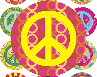 Peace and love images large circles for pocket mirrors and more digital collage sheet No.1074