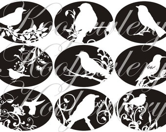 White birds in large oval for belt buckle and more digital collage sheet No.1094
