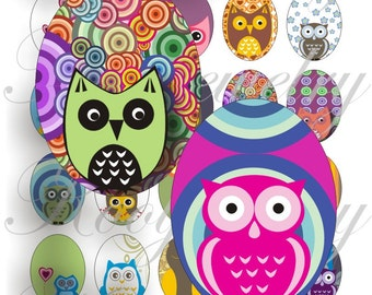 Cute Owls 40x30mm oval images for charms, pendant, buttons, scrapbook and more Vintage Digital Collage Sheet No.1190