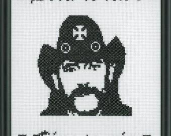 Lemmy Kilmister - Motorhead Completed 8x10 Cross Stitch