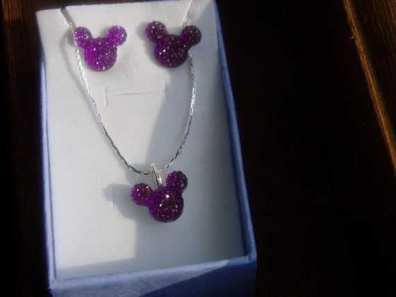 MOUSE EARS Necklace and Earrings Set for Themed Wedding Party in Dazzling Purple Acrylic