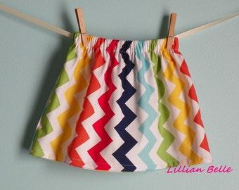 Lillian Belle Girls Skirt Rainbow Chevron Zig Zag Custom Size  6M 12M 18M 2T 3T 4T 5 6