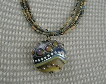 Lampwork Pendant Necklace with Multi-Strand Chain
