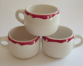 3 Vintage Red and White Restaurant Ware Cups