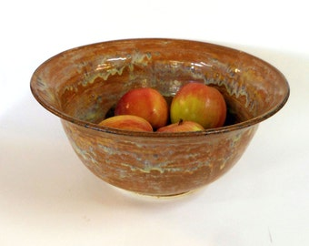 Large 4 Qt Stoneware  Wheel thrown serving bowl