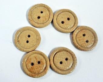 Six Handmade stoneware Buttons
