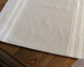Striped Table Runner - Flax and Natural - Select Your Length