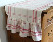 Ruffled Cotton Table Runner - Select Your Length in Red or Blue Plaid