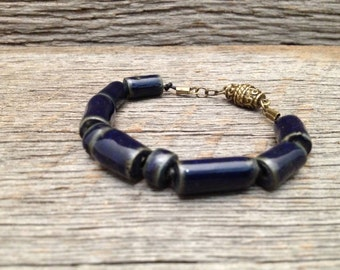 Midnight Blue Ceramic Bead Bracelet