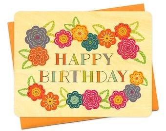 vibrant floral birch wood birthday card - WC1226