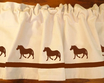 Norwegian Fjord Horse Window Valance Curtain - Your Choice of Colors