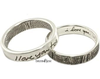 I love you...I love you too set of two narrow fingerprint wedding rings