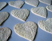 Plantable Seed Paper Flat Heart Shaped Place Cards in Ivory With Wildflower Seeds
