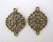 Antiqued Brass Ox Oval Flower Filigree Connector Finding 17mm flg0062 (6)