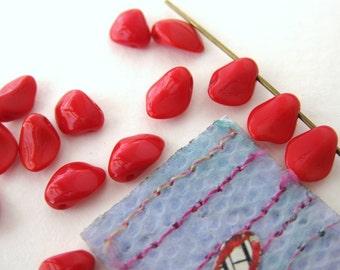 Vintage Glass Bead Drops Cherry Red Petals Dangles 8mm vgb0183 (15)