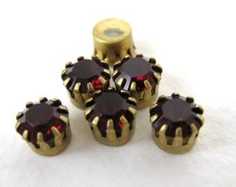 Vintage Swarovski Crystal Rhinestone Garnet Brass Many Prong Setting 7mm swa0347 (6)