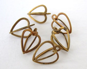Vintage Brass Cage Bead Drop Heart Charm 13mm chm0168 (6)