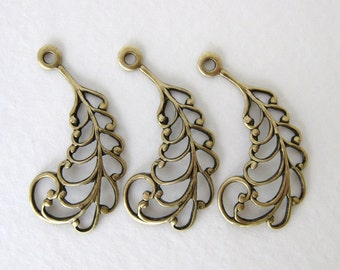 Antiqued Brass Ox Feather Filigree Leaf Drop Charm Pendant Stamping Finding 30mm drp0037 (4)