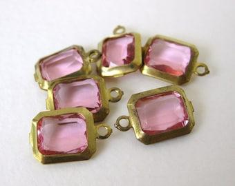 Vintage Bead Drop Pink Channel Octagon Charm Acrylic Brass 12x10mm vpb0119 (6)