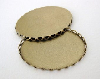 Cameo Setting Filigree Lace Antique Brass Cabochon 40x30mm set0122 (2)