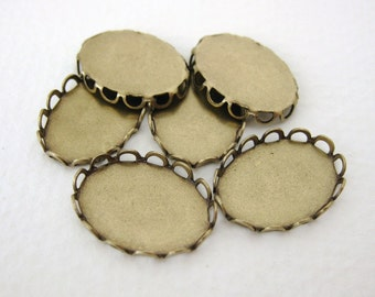 Filigree Setting Cameo Antiqued Brass Lace Edge 18x13mm Cabochon set0089 (6)