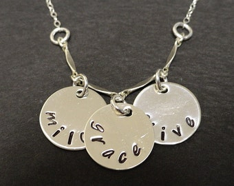 THREE Name Handstamped Necklace - Mommy Necklace - Kids Names - Family - Grandma Jewelry - Sterling Silver - LoveStruckMetals