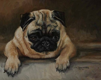 Pug Dog print from painting