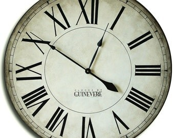 Large Wall Clock 30in MANCHESTER Linen Gallery Antique Style Big Round Clocks FREE INSCRIPTION