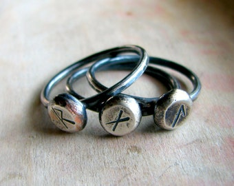 Personalized ring, sterling silver ring, rune sign, rustic oxidized ring - Rune ring
