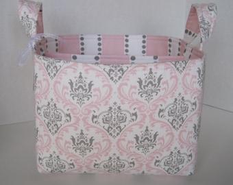 Ex-Large Pink/Gray/White Damask Fabric Organizer Basket with  Divider