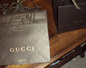 6 Gucci Shopping Bag Embossed Logo nine inches x 6 in Vintage