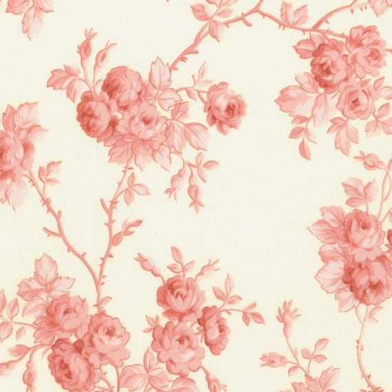 SALE Incense and Peppermints by Robyn Pandolph cream and pink floral 1 yard