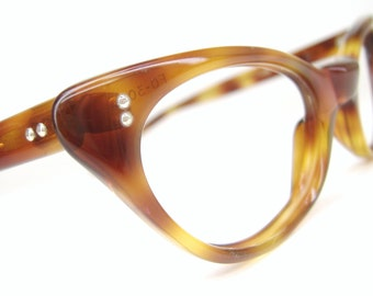 Vintage 50s  Orange Tortoise Cat eye Eyeglasses Sunglasses Frame