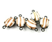 4 - Vintage Glass Oval Stones in 2 Rings Black Antique Brass Prong Settings - Sparkling Copper on White - 10x8mm