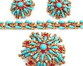 Outstanding HAR Parure Brooch Bracelet Earring Designer Vintage Signed Rhinestone Turquoise Jewelry Set Turquoise Glass
