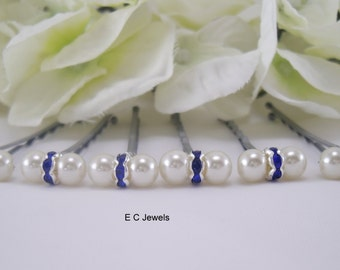 SALE Pearls and Rondelles Hairpins (Something Blue)