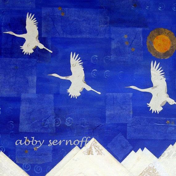 Large Original Bird Art Canvas Cranes 30 x 40 inches