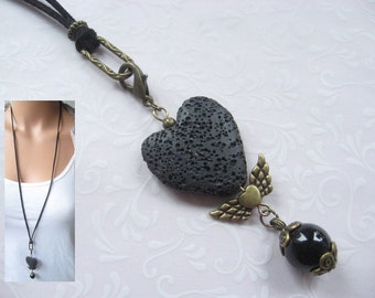 Charm Necklace GOTHIC ANGEL Pendant Lava Onyx Angel Wings Heart Charms