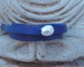 Double leather wrap pearl bracelet