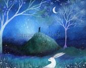 moonlit hare art print by Amanda Clark.