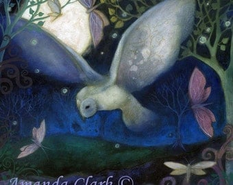 The Owl and Moon art print by Amanda Clark