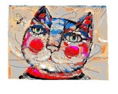 Art Quality print from my digital painting - illustration   Cat portrait  ( limited edition of 25)