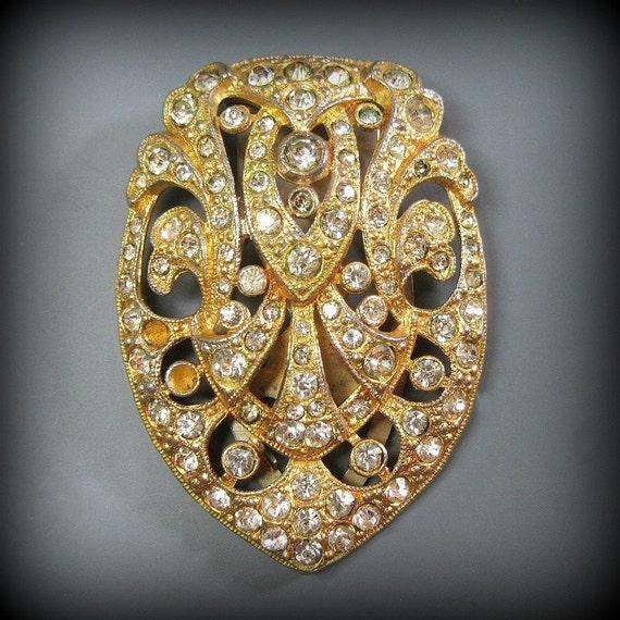 Art Deco Dress Clip - Vintage - Sparkle - Glitz - Rhinestones - Gold Gilt - 1930s